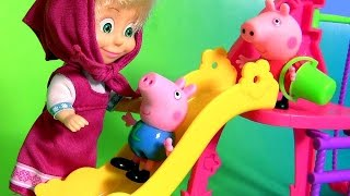 Peppa Pig George & Masha Playing in the Playground Park Muddy Puddles with Slide Swing