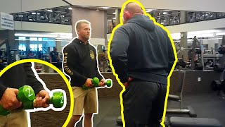 Handing BIG Dudes tiny Weights at the Gym