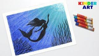 Как нарисовать русалку масляной пастелью поэтапно для начинающих