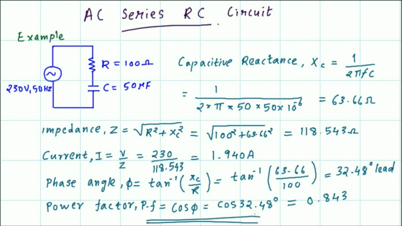AC series RC circuit Impedance, current, phase angle and power factor  calculations