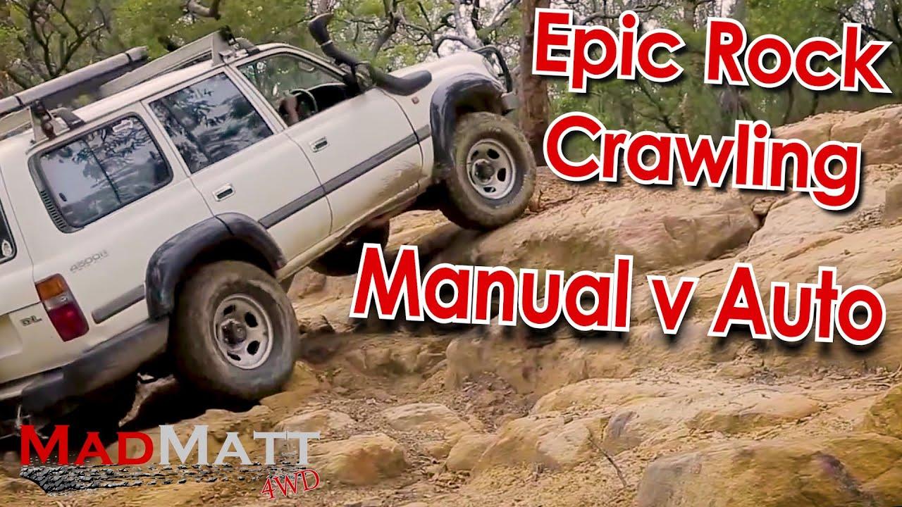 epic rock crawling at wheeny creek landcruiser auto vs manual rh youtube com Rock Crawling Trucks Mud Bogging