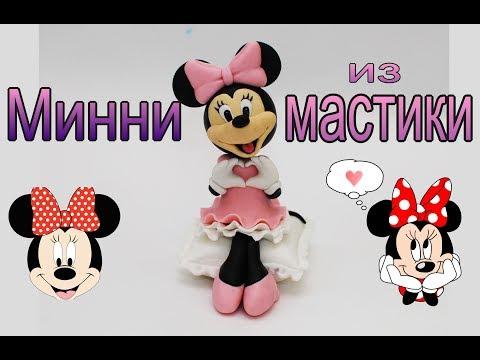 Минни из мастики. Фигурка Минни Маус на торт. Minnie Mouse Fondant.