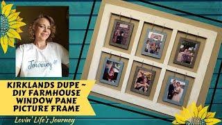DIY Farmhouse Window Pane Picture Frame - Kirkland's Dupe | BUDGET FRIENDLY Power Tool Alternatives Video