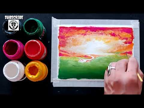 easy scenery painting / step by step / tutorial / poster Colour painting demo / Abstract painting