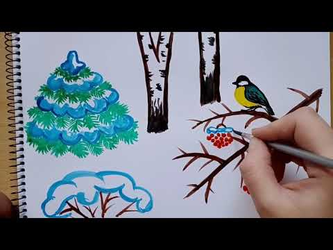 Зимний рисунок акварелью || Winter Watercolor Drawing