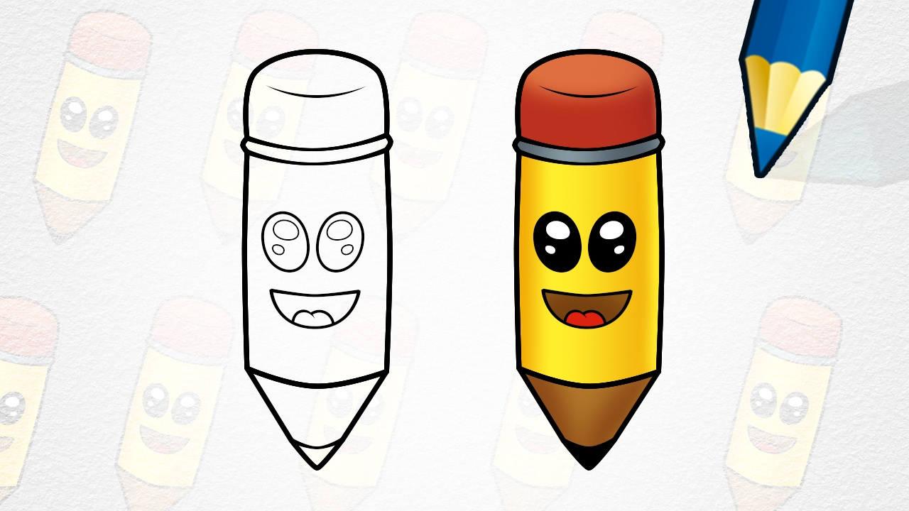 How to Draw a Cartoon Pencil - Easy - YouTube