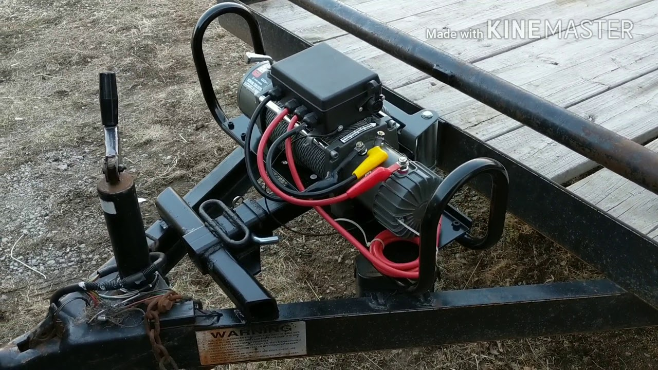 Trailer Winch Mount >> Harbor Freight 12000 winch install (removable) - YouTube