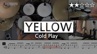 010 | Yellow - Cold Play (★★☆☆☆) | Drum Cover, Score, Sheet Music, Lessons, Tutorial | DRUMMATE
