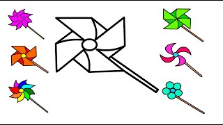Coloring pinwheels, Drawing and painting for kids, toddlers I Kids Artwork I #howtodraw
