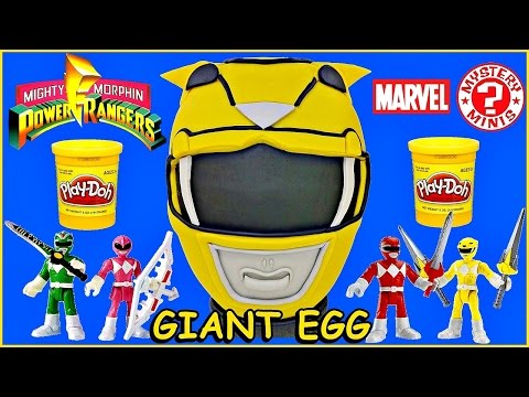 GIANT YELLOW POWER RANGERS Play Doh Surprise EGG Trini Mighty Morphin