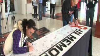 OSU signs banner for the fallen