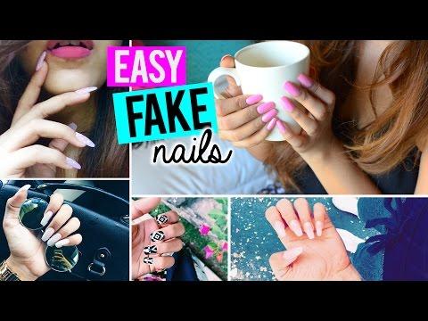 Easy Fake Nails AT HOME (SALON RESULTS & NO ACRYLIC)