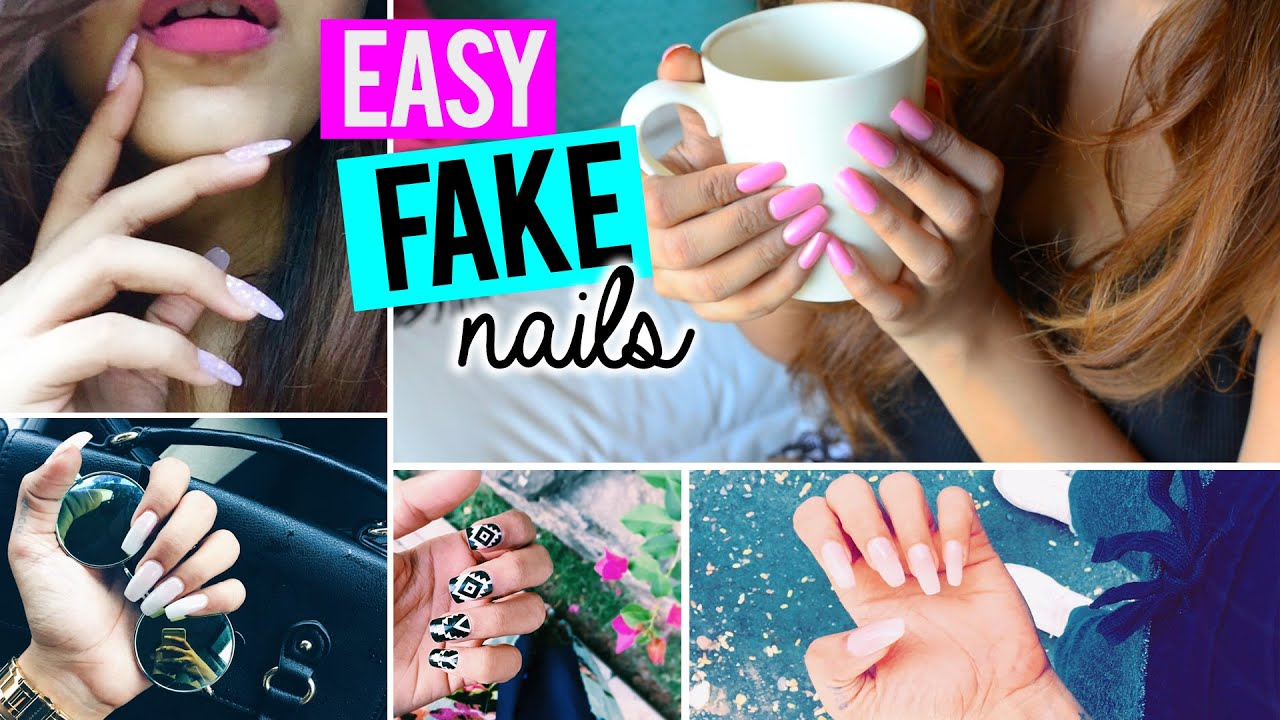 Easy Fake Nails AT HOME (SALON RESULTS & NO ACRYLIC) - YouTube