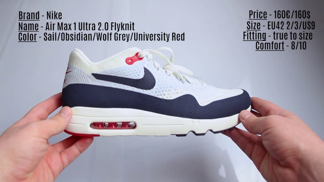 a6433b28ab Unboxing - Nike Air Max 1 Ultra 2.0 Flyknit Obsidian - YouTube