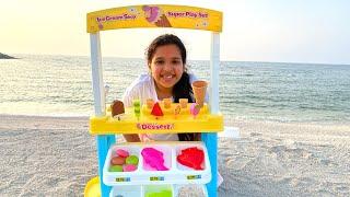 شفا تبيع ايسكريم في الشاطئ ! Shfa selling ice cream in beach