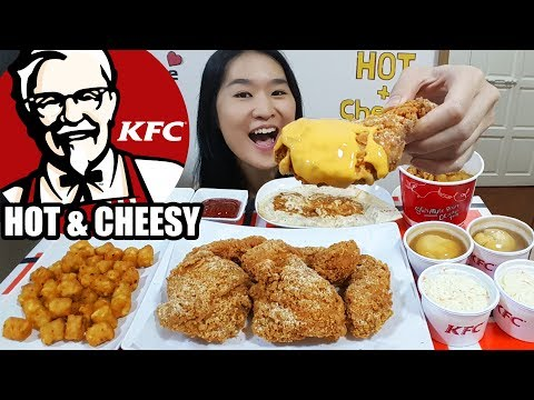 KFC HOT & CHEESY FRIED CHICKEN! Cheesy BBQ Meltz, Curry Rice Bucket, Tater Tots Eating Show Mukbang
