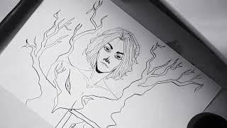 В. Цой и гр. Кино – Дерево/speed painting illustration