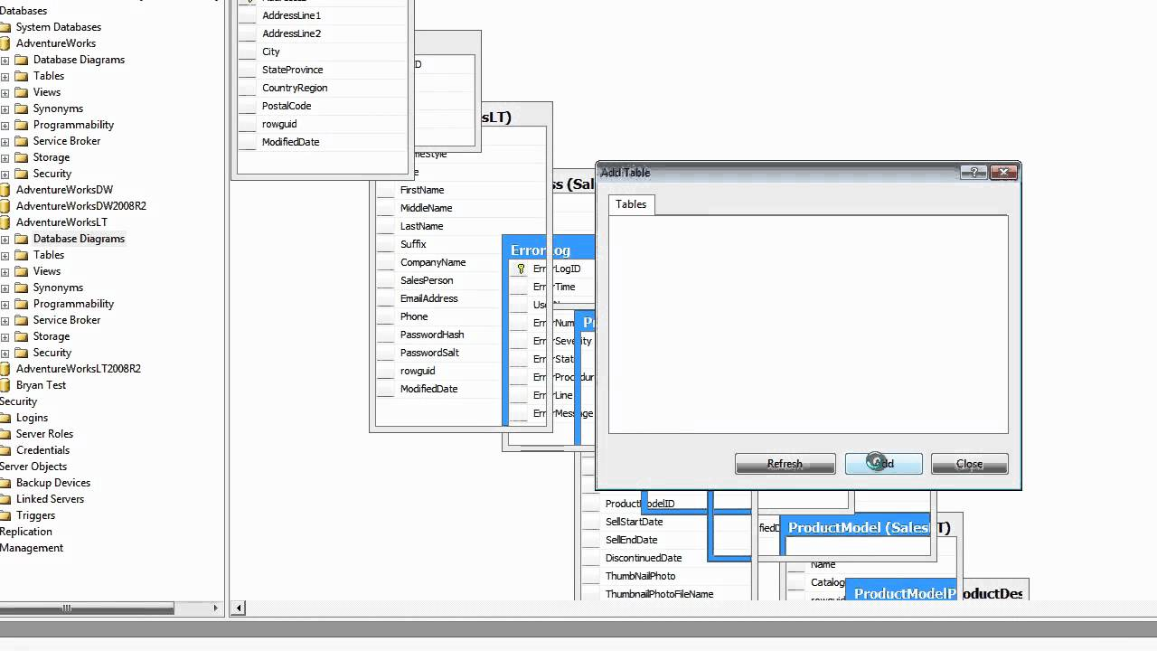 how to draw database diagram goodman furnace parts diagrams in sql server 2008r2 youtube