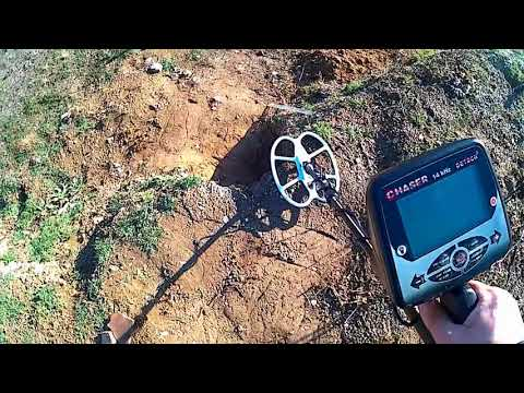 Metal detector Detech Chaser 14 kHz - depth test on hammered silver
