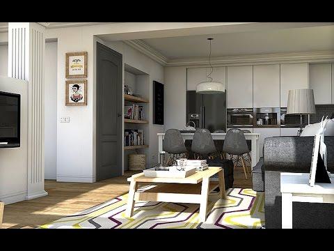 Diseo Interior Espacios abiertos Apartamento 57 m2