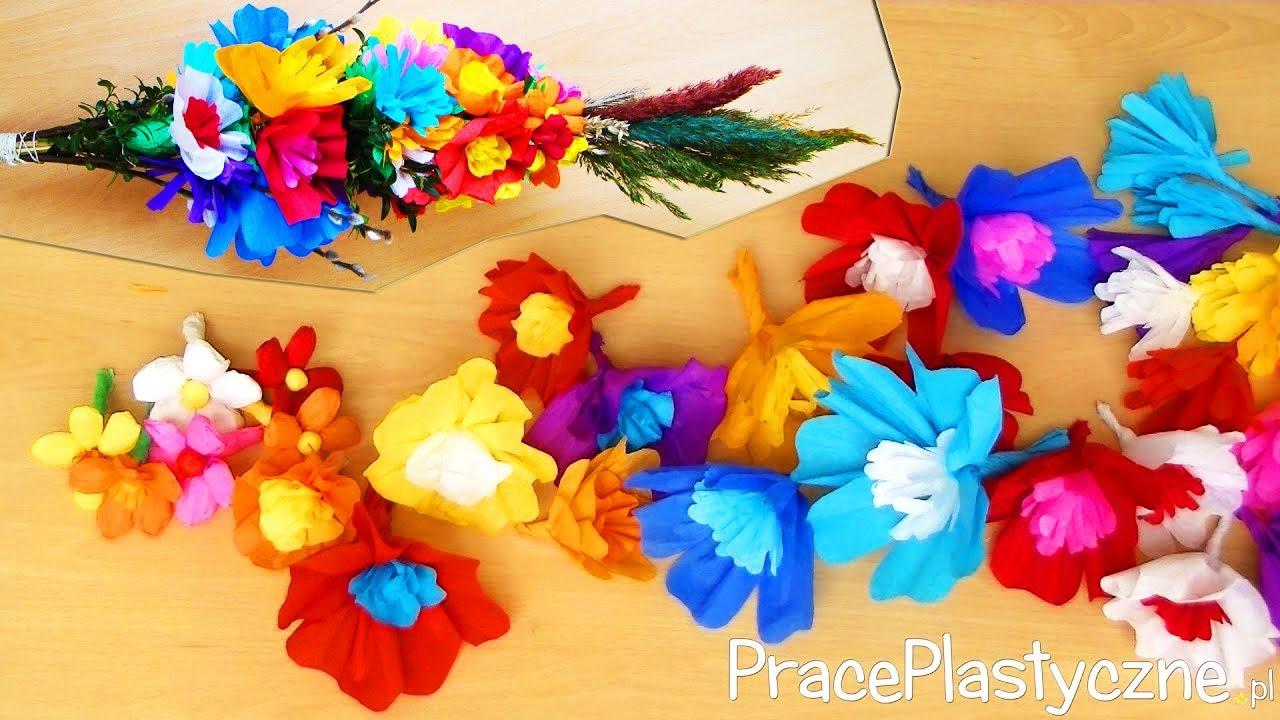 Jak Zrobic Kwiaty Z Bibuly Do Palmy Wielkanocnej Youtube