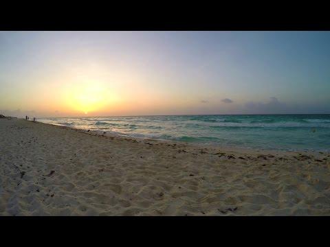 Timelapse Sunrise Gopro Iberostar Quetzal Beach Caribbean Sea Riviera Maya Playacar Mexico 4k UHD HD