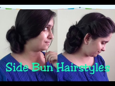 2 Hairstyles For Saree/ Lehenga/Western Dresses♡ Side Messy Bun For Party
