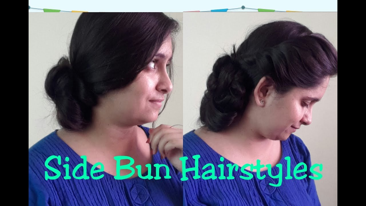 2 Hairstyles For Saree Lehengawestern Dresses Side Messy Bun For