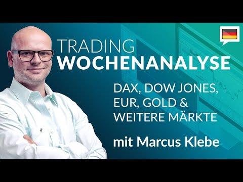 Trading Wochenanalyse für KW33/2018 mit Marcus Klebe – DAX – EUR/USD – Gold – S&P