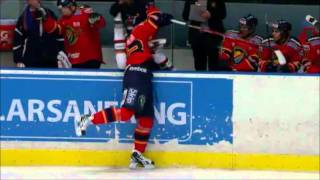 Mika Zibanejad puts Klingberg over the boards - February 21th 2011
