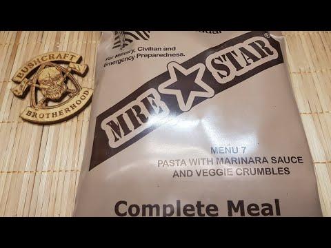 ✔CIVIL MRE ☆ MRE STAR Menu #7: Pasta with Marinara Sauce and Veggie Crumbles ☆ German Review ☆