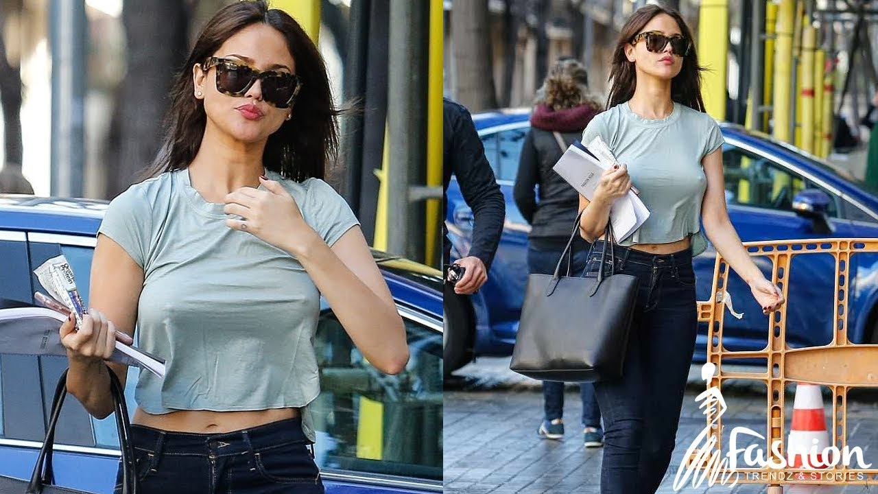 Eiza Gonzalez goes braless as she heads to filming in Barcelona