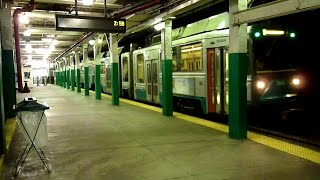 MBTA Green Line trains at Boylston (screeching)