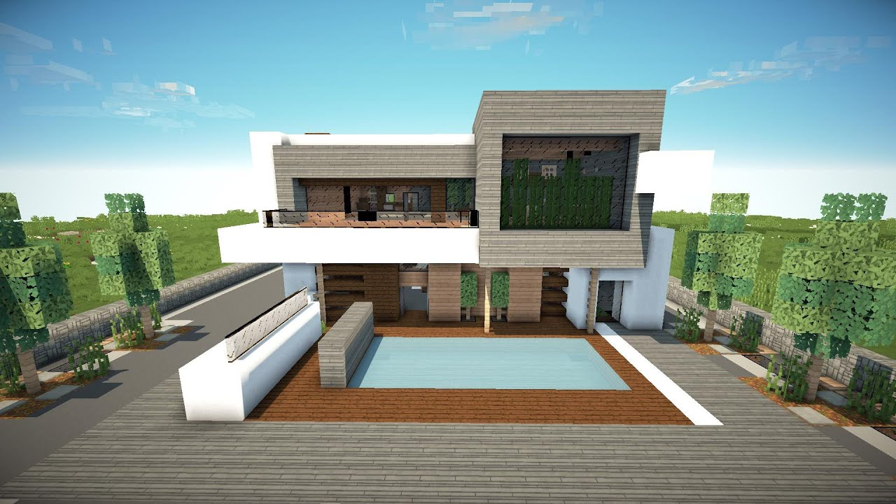 Minecraft how to build a modern house 1 8 7 best modern house 2015 tutorial