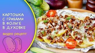 Картошка с грибами в фольге в духовке видео рецепт