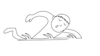 How to draw the swimming boy using the number 22