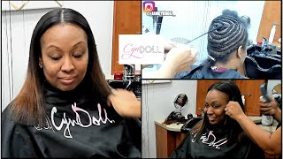 Full sew in with leave out MIDDLE PART