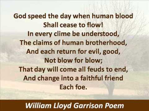 William Lloyd Garrison Poem - God Speed the Year of Jubilee - Hear the Text of Prayer
