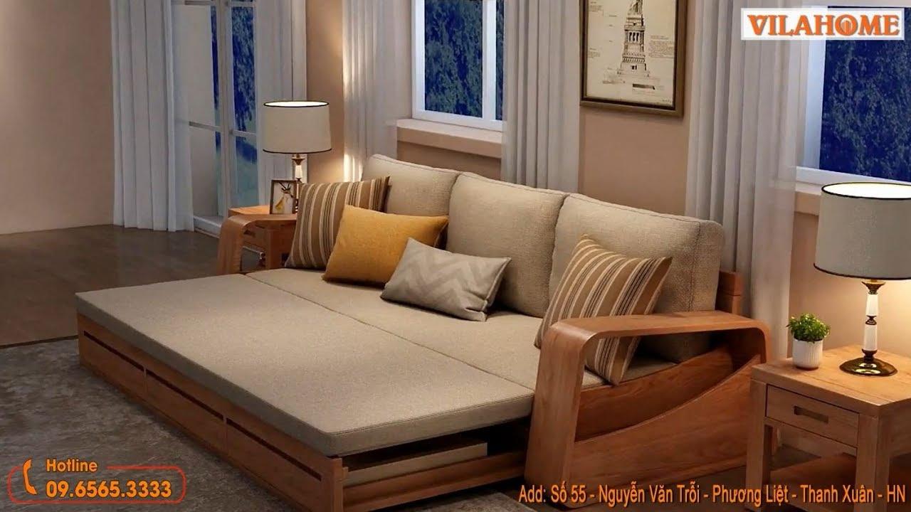 Sofa Giường Gỗ G905 – Mẫu SOFA GIƯỜNG GỖ MỚI Có ngăn kéo – VILAHOME