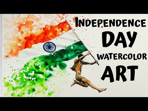 Independence Day Drawing With Watercolors   Independence Day Drawing   Article 370