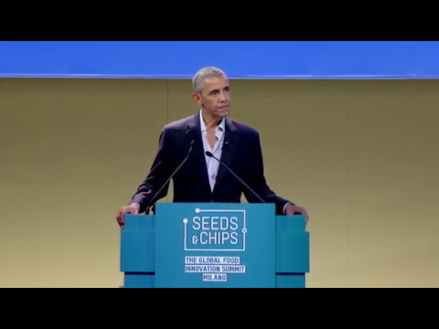 Barack Obama speaks at the Global Food Innovation Summit, Milan, Italy, on May 9, 2017