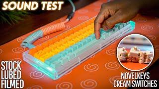 NovelKeys Kailh Cream Switches Sound Test (Stock VS Lubed+Filmed)