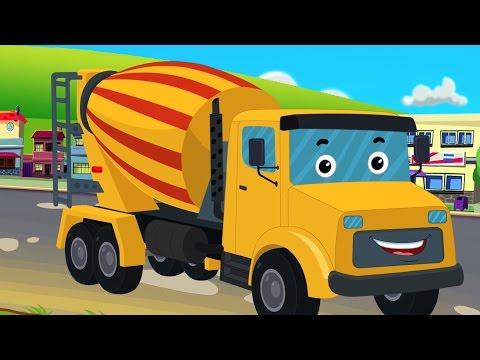 simen trak | popular trak video untuk kanak | Cement  Truck  | Educational Video | Kids Cartoon