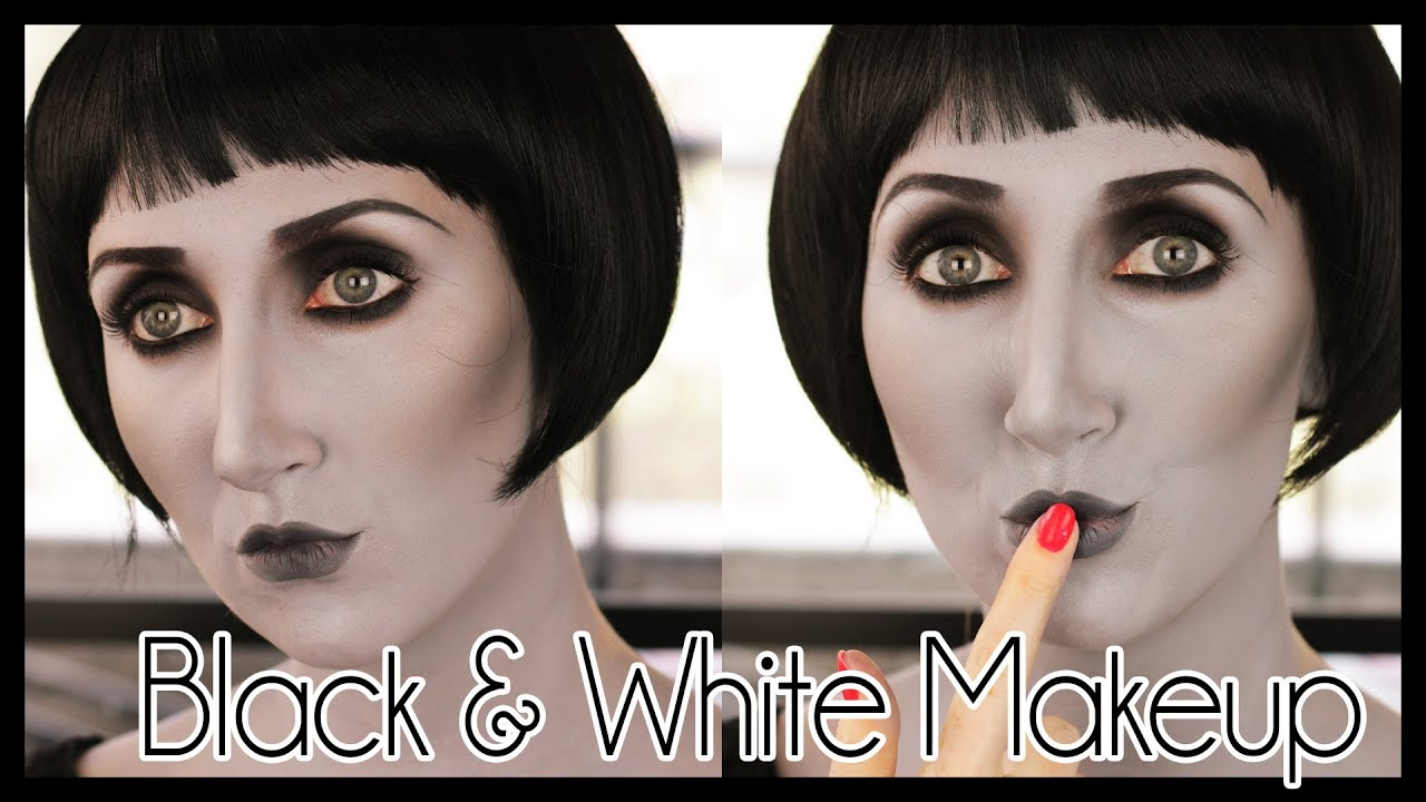 grayscale black & white effect halloween makeup tutorial - youtube