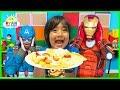 Ryan Pretend Play Cooks Breakfast for Avengers Superheroes