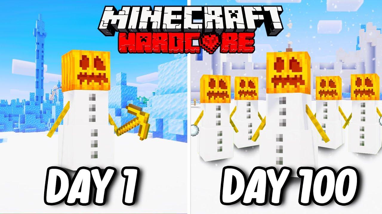 I Survived 100 Days as a SNOW GOLEM in Hardcore Minecraft... Minecraft Hardcore 100 Days
