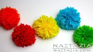 DIY Learn How to Make Pom Poms from Yarn - Clover Pompom Maker Fork Hair Pick Pompoms