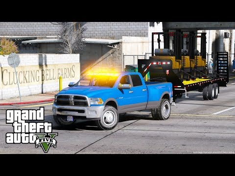 GTA 5 REAL LIFE MOD #20 DODGE RAM 3500 DUAL REAR WHEELS HAULING 3 FORKLIFTS TO CLUCKING BELL FARMS