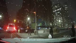 Dashcam Video - Driving in the Snow - NYC 15 Nov 2018