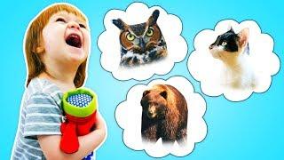 Бьянка и Микрофон - Учим звуки животных в шоу про развивающие Дада игрушки